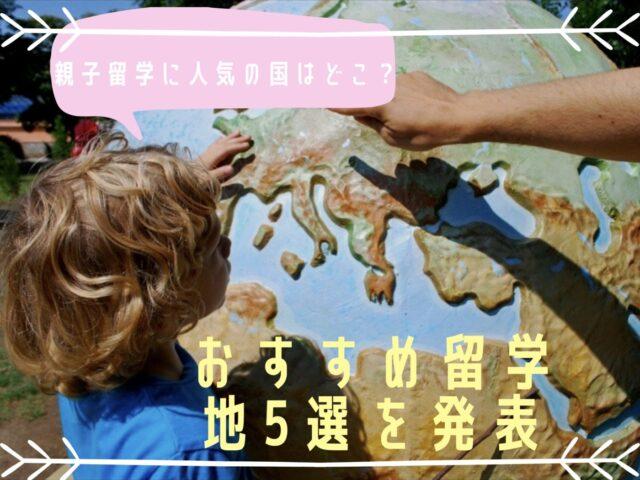 地球儀を指さす男の子の写真
